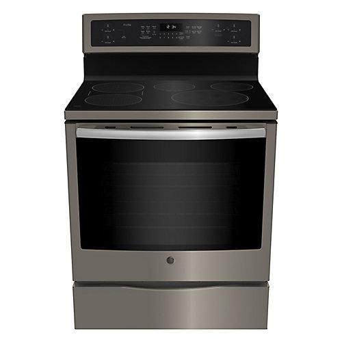 cuisinière électrique autonome de 30 po cu. 6,2 pi. cu. avec four à convection autonettoyant en ardoise
