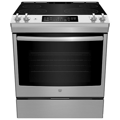 GE 30-inch W 5.3 cu ft Slide In Front Control Electric Self-Cleaning Range in Stainless Steel