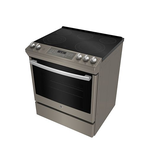 GE 30-inch 5.3 cu. ft. Single Oven Electric Range with Self-Cleaning Convection Oven in Slate