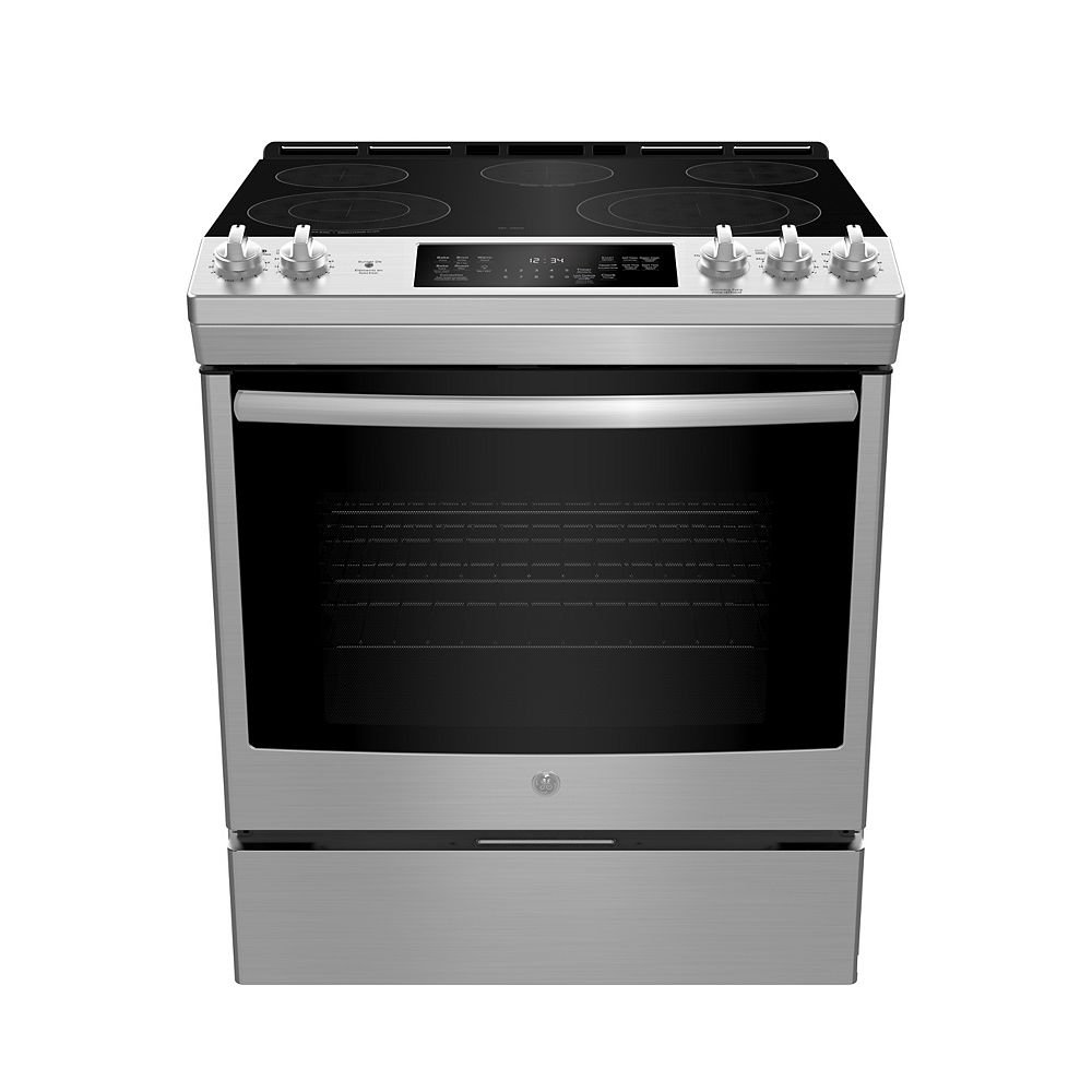 GE 30-inch W 5.3 Cu. ft. Slide In Front Control Electric Self-Cleaning Range in Stainless Steel