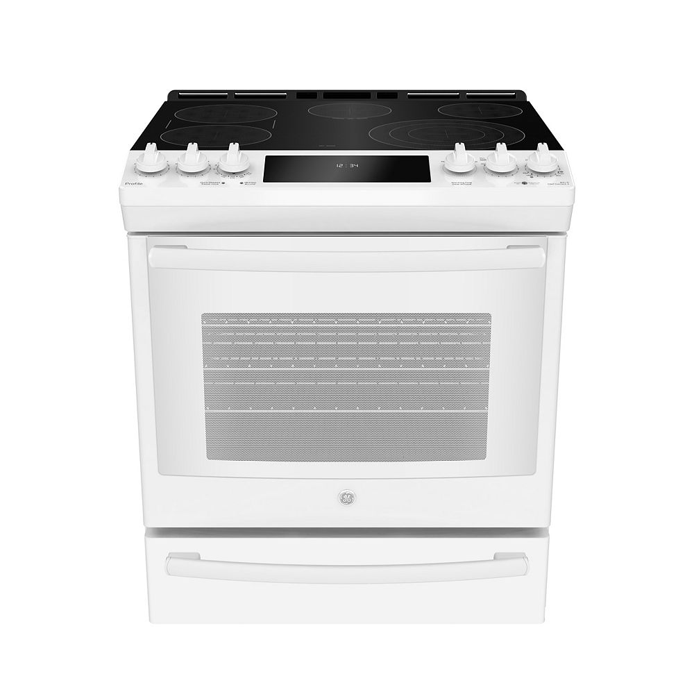 GE 30-inch W 5.3 Cu. ft. Slide In Front Control Electric Self-Cleaning Range in White
