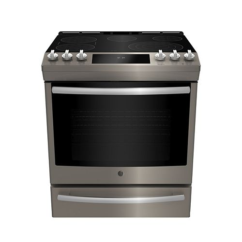 GE 30-inch W 5.3 Cu. ft. Slide In Front Control Electric Self-Cleaning Range in Slate