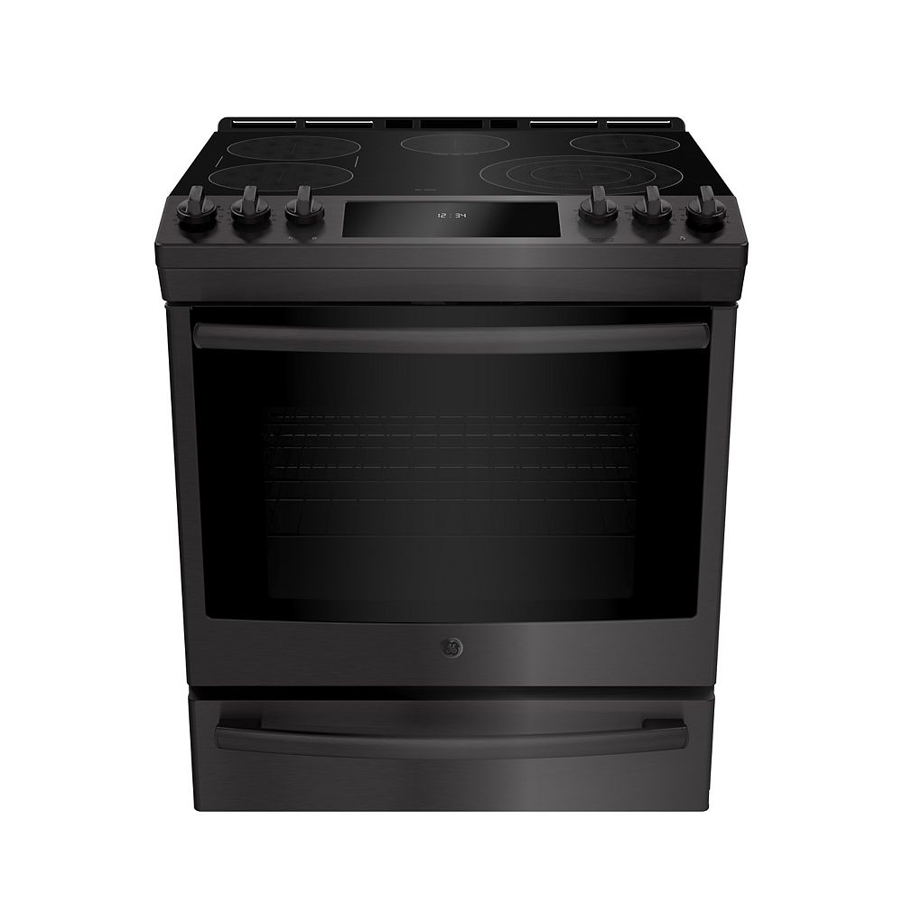 GE 30-inch W 5.3 Cu. Ft. Slide In Front Control Electric Self-Cleaning Range in Black Stainless Steel