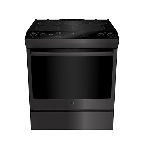GE 30-inch W 5.3 Cu. ft. Slide In Front Control Induction Self-Cleaning Range in Black Stainless Steel