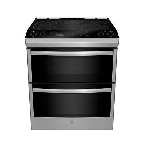 30-inch W 6.7 Cu. ft. Slide In Front Control Double Oven Self-Cleaning Range in Stainless Steel