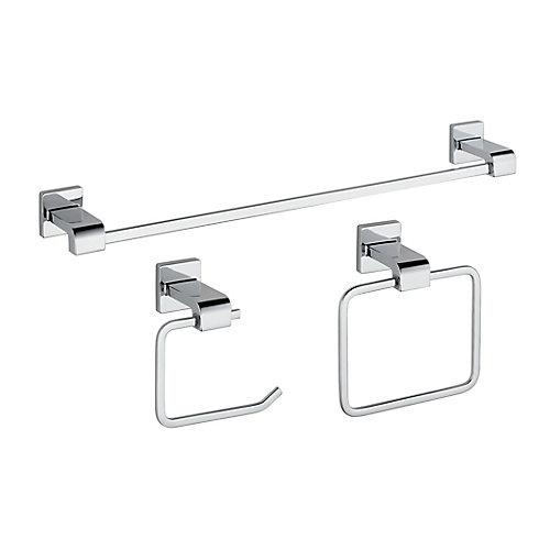 Trousse d'accessoires de salle de bains Ara, 3pièces, chrome