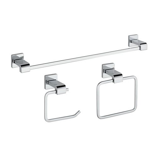 Ara 3 Piece Bath Hardware Kit, Chrome