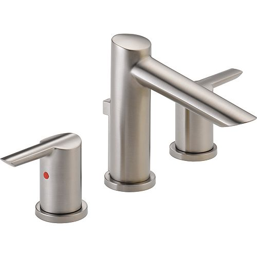 Delta Compel Widespread Bath Faucet with Metal Pop-Up, Stainless Steel