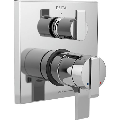 Angular Modern Monitor 17 Series Valve Trim with Integrated Diverter, Chrome (Valve Sold Separately)
