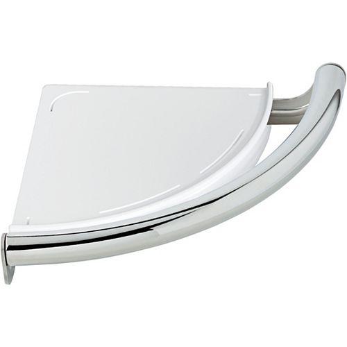 Contemporary Corner Shelf/Assist Bar, Chrome
