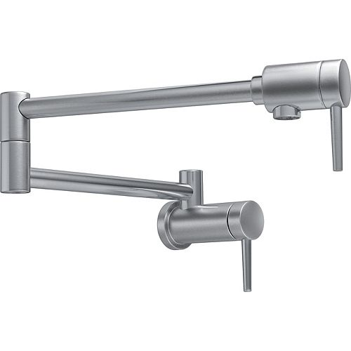 Contemporary Wall Mount Pot Filler Faucet with Lever Handle in Arctic Stainless