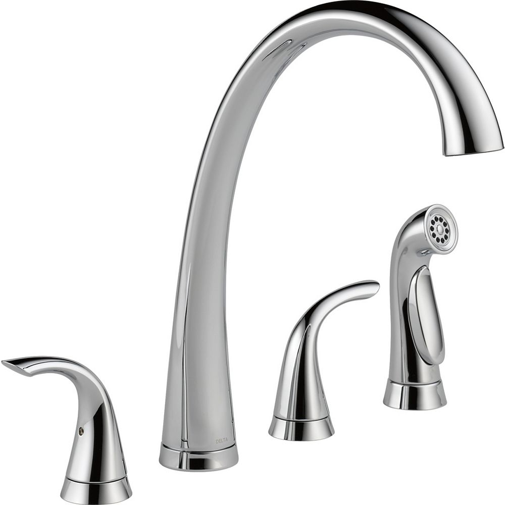 Delta Pilar Two Handle Widespread Kitchen Faucet With Spray Chrome The Home Depot Canada