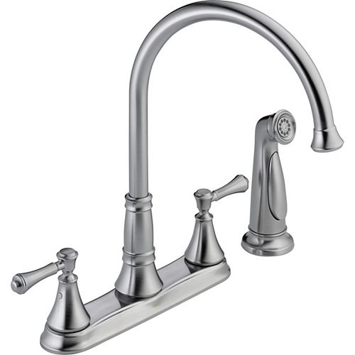 Cassidy Two Handle Kitchen Faucet with Spray, Arctic Stainless