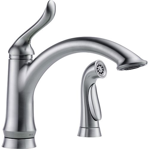 Delta Linden Single Handle Kitchen Faucet with Spray, Arctic Stainless