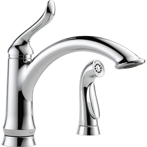 Linden Single Handle Kitchen Faucet with Spray, Chrome