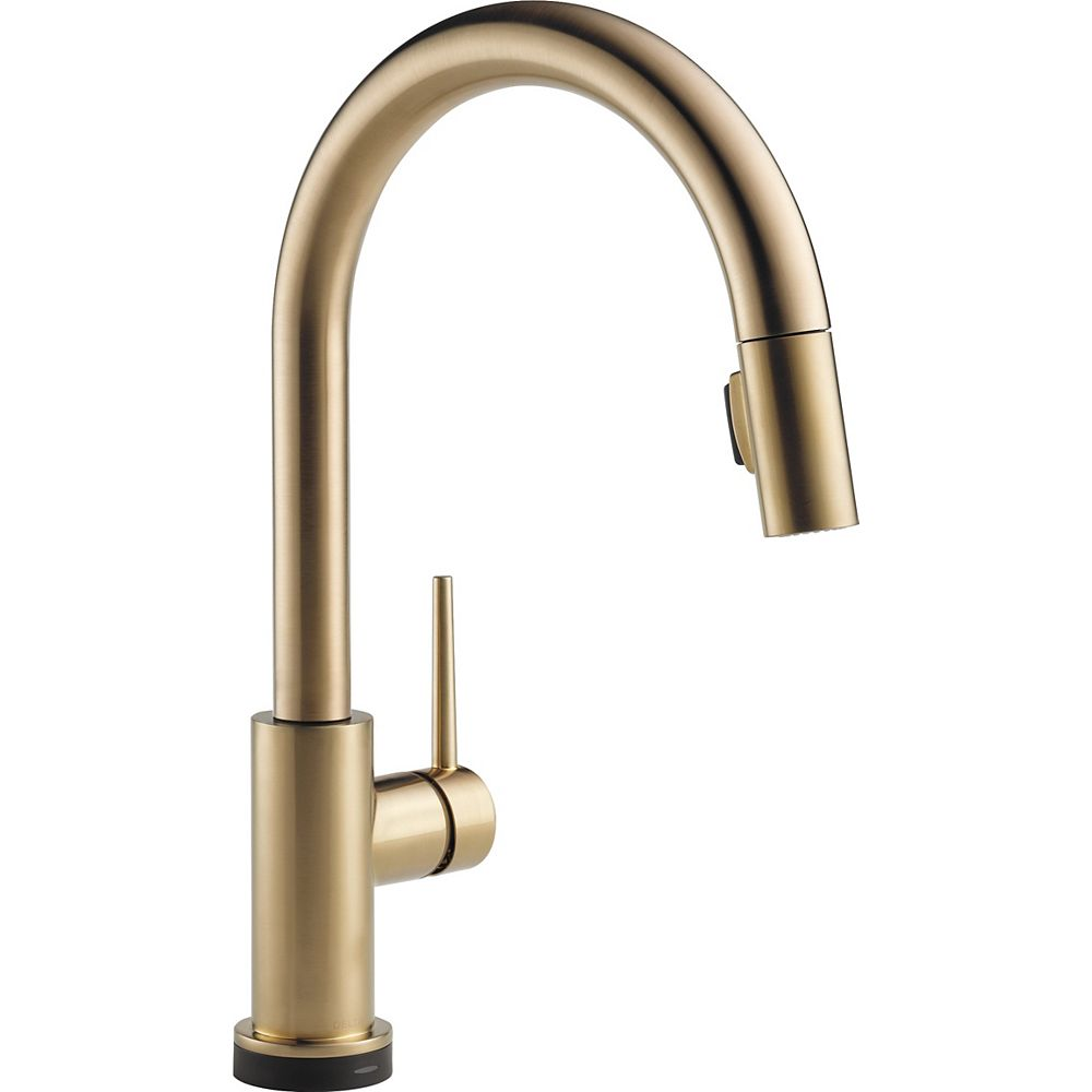 Delta Trinsic Single Handle Pull-Down Kitchen Faucet Featuring Touch2O Technology, Champagne Bronze