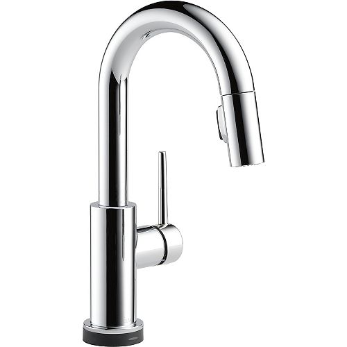 Trinsic Single Handle Pull-Down Bar/Prep Faucet Featuring Touch2O Technology, Chrome