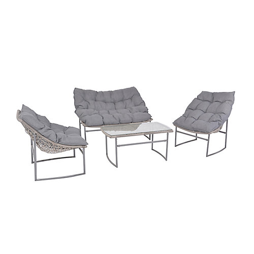 Ronco All-Weather Wicker Patio Conversation Set with Grey Cushions