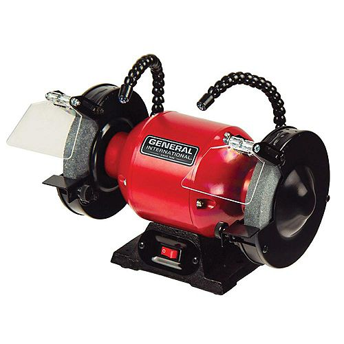 General International 6 inch 2A Bench Grinder With Twin Led Work Lights