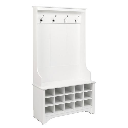 Hall Tree with Shoe Storage in White