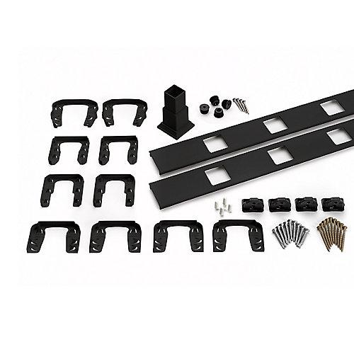 8 ft. - Infill Rail Kit for Square Balusters - Horizontal - Charcoal Black