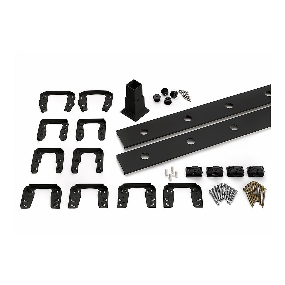 Trex 8 ft. - Infill Rail Kit for Round Aluminum Balusters - Horizontal - Charcoal Black