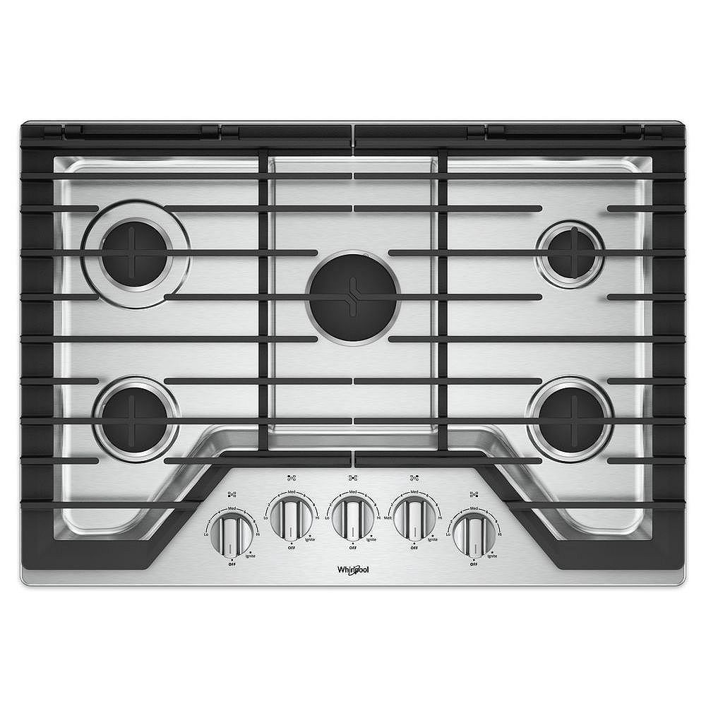 Whirlpool 30-inch Gas Cooktop with EZ-2-Lift Hinged Cast-Iron Grates