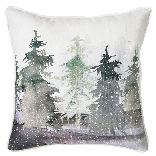 Home Accents Coussin d'appoint des fêtes à motif d'aquarelle de pins de 46cm x 46cm