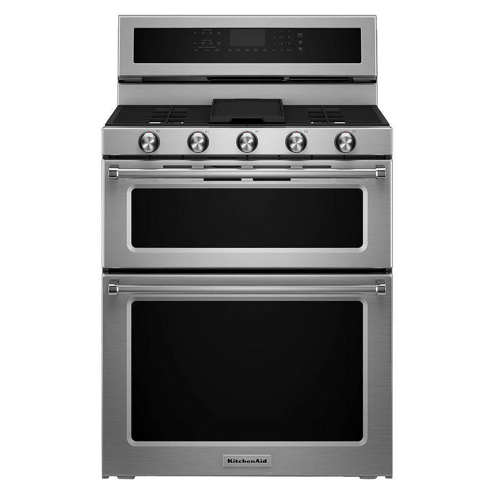 Kitchenaid 6 0 Cu Ft Double Oven Gas Range With Self Cleaning Convection Oven In Stainle The Home Depot Canada