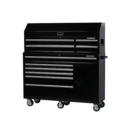 61-inch W x 18-inch D 10-Drawer 1-Door Tool Chest and Rolling Cabinet Combo in Black