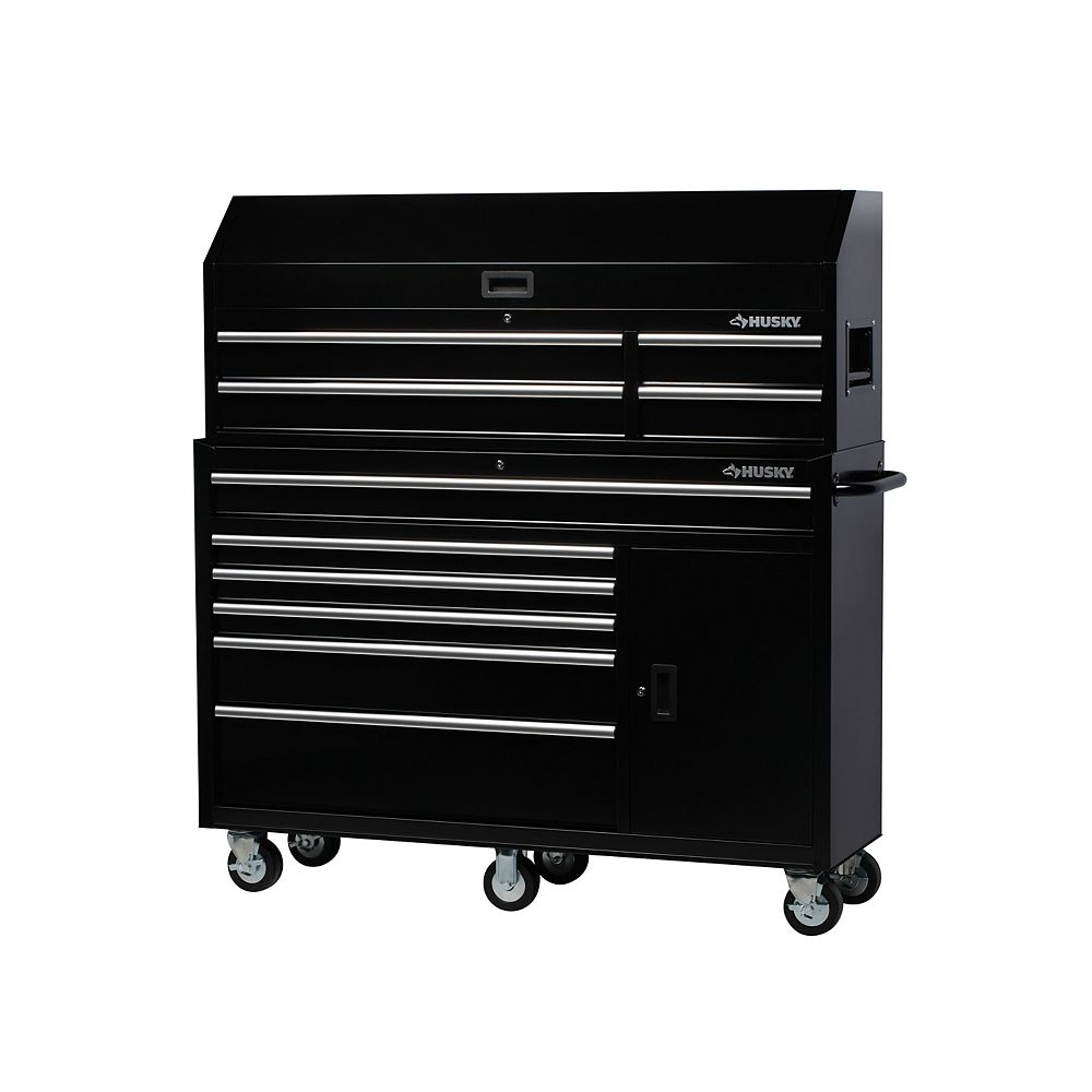 Husky 61-inch W 10-Drawer 1-Door Mobile Combination Tool Storage Chest and Cabinet Set in Gloss Black