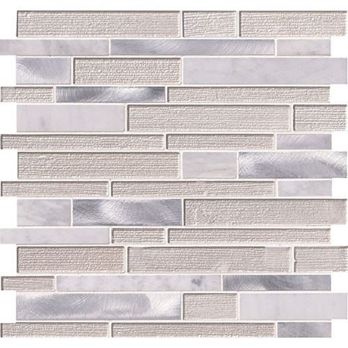 White Wave 12-inch x 12-inch x 4 mm Glass/Stone/Metal Mesh-Mounted Interlocking Mosaic Tile