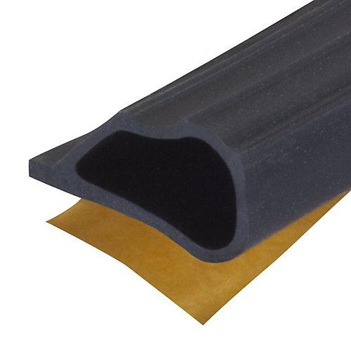 1/4po  x 1/2po x 20pi Joint d'étanchéité coupe-froid en silicone pour portes et fenêtres - Noir