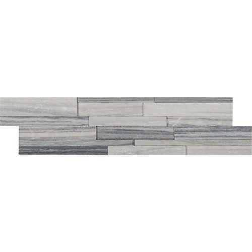 Alaska Gray 3D Ledger Panel 6-inch x 24-inch Honed Marble Wall Tile (60 sq.ft./pallet)