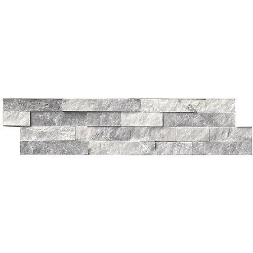 Carreaux de marbre à face éclatée pour murs Alaska Gray en panneaux de 6 x 24 po (60 pi ca/palette)