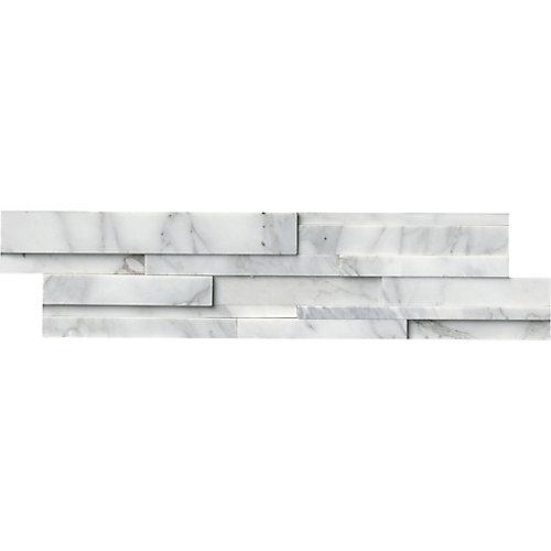 Carr. marbre traité au jet de sable pour murs Calacatta Cressa 3D pann. de 6 x 24 po (60 pi ca/pal.)