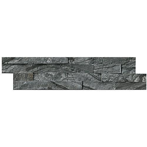 Carreaux de marbre naturel pour murs Glacial Black en panneaux de 6 po x 24 po (60 pi ca/palette)