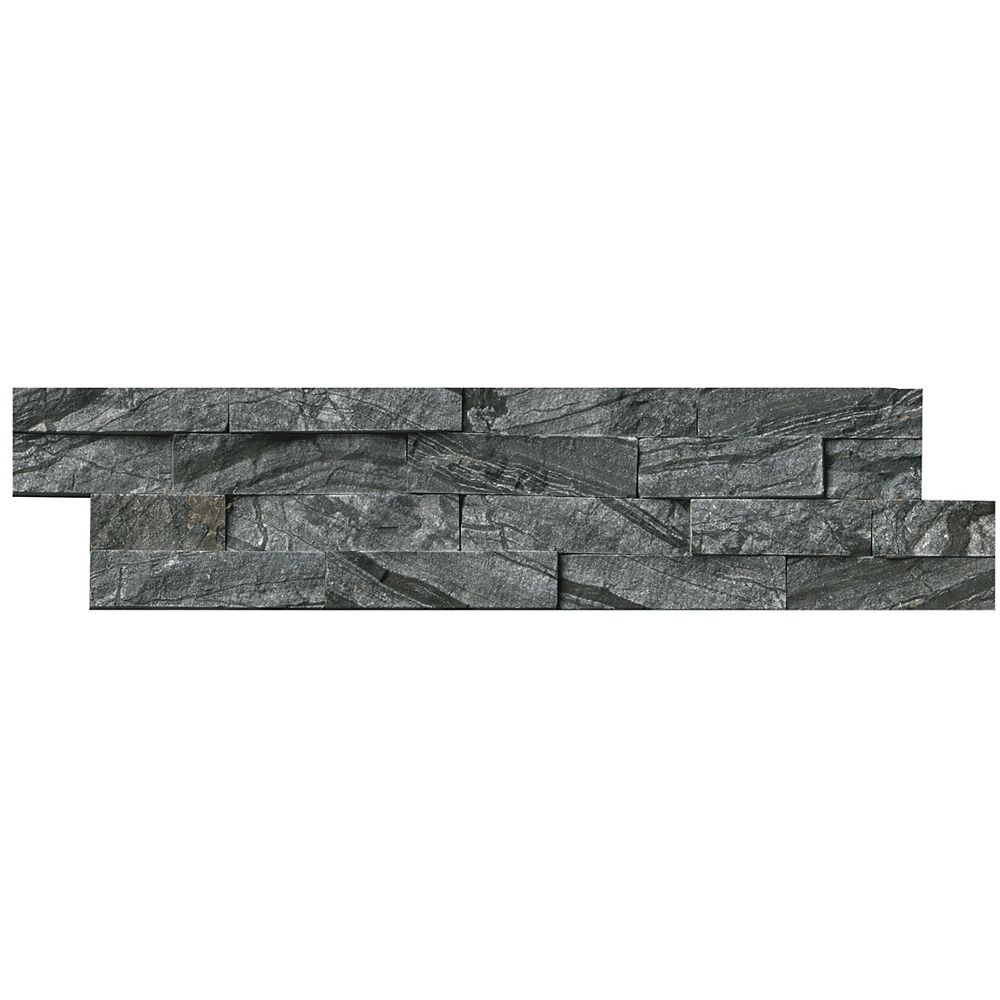 MSI Stone ULC Glacial Black Ledger Panel 6-inch x 24-inch Natural Marble Tile (10 cases / 60 sq. ft. / pallet)