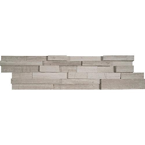 Carr. de marbre traité au jet de sable pour murs White Oak 3D en pann.  de 6 x 24 po (60 pi ca/pal.)