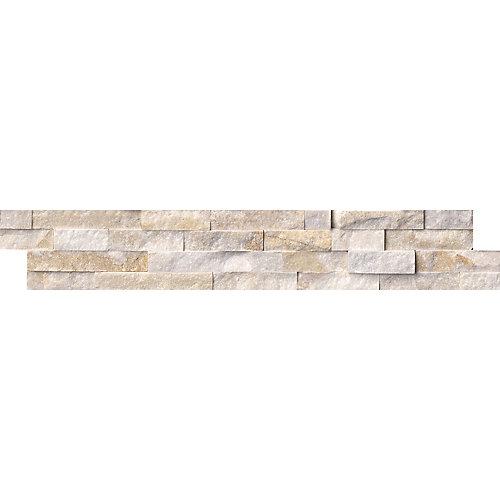 Panneau de carreaux muraux à face éclatée, 6 po x 24 po, 60 pi2/palette, or arctique, quartzite