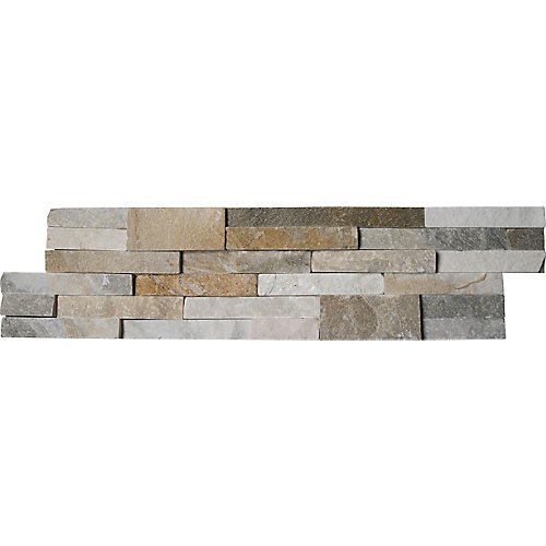 Carreaux de quartzite naturel pour murs Sparkling Autumn en panneaux de 6 po x 24 po (60 pi ca/pal.)
