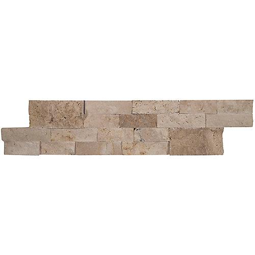 Carreaux de travertin naturel pour murs Roman Beige en panneaux de 6 po x 24 po (60 pi ca/palette)
