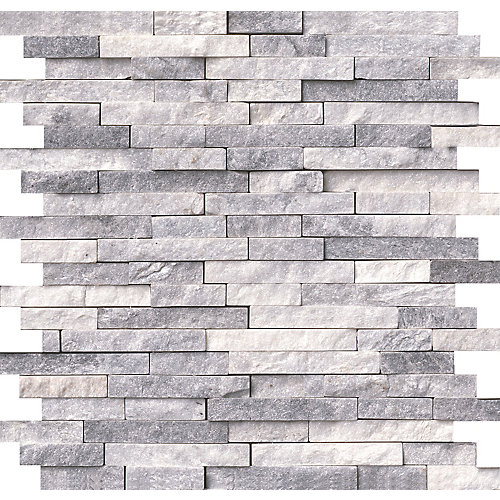 Carr. mosaïq marbre f. éclatée montés sur filet - murs Alaska Grey  11,81 x 12,4 po (10 pi ca/bte)