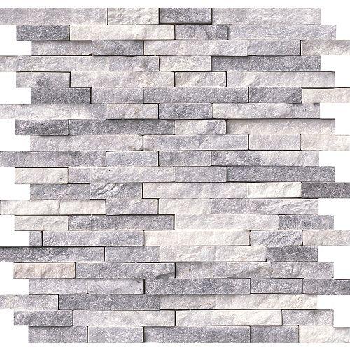 Alaska Grey Split-face 11.81-inch x12.4-inch Marble Mesh-Mounted Mosaic Wall Tile (10 sq. ft. / case)
