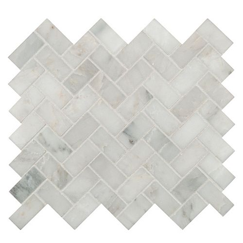 Arabescato Carrara Herringbone Pattern 12-inch x 12-inch Honed Marble Mosaic Tile (10 sq. ft./case)