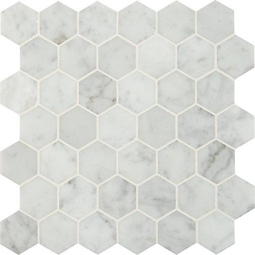 Carr. mosaïque marbre poli montés sur filet Carrara White Hexagon de 12 po x 12 po (10 pi ca/bte)