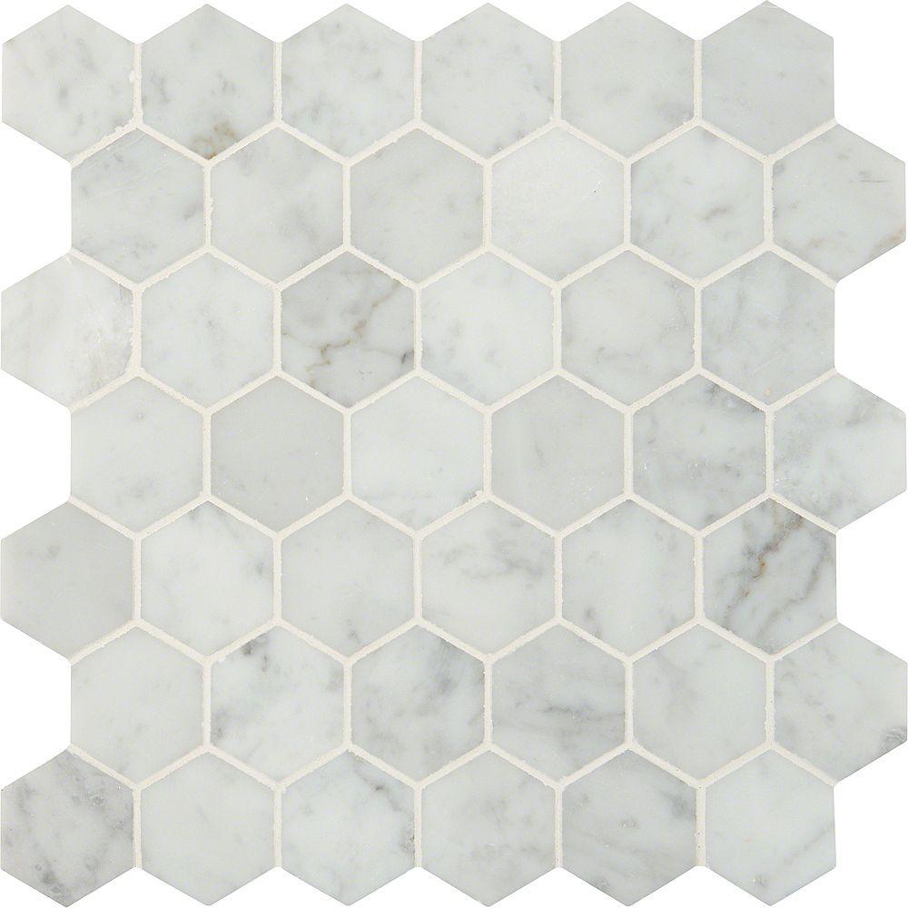 MSI Stone ULC Carr. mosaïque marbre poli montés sur filet Carrara White Hexagon de 12 po x 12 po (10 pi ca/bte)