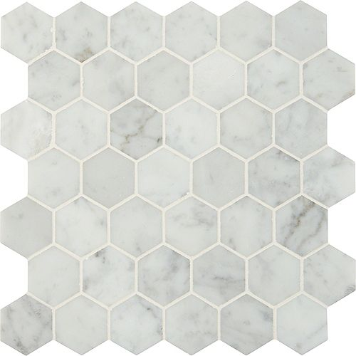 Carrara White Hexagon 12-inch x 12-inch Marble Mesh-Mounted Mosaic Tile (10 sq. ft. /case)