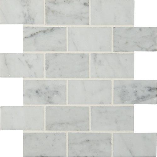 Carr. de mosaïque de marbre poli montés sur filet Carrara White de 12 po x 12 po (10 pi ca/bte)