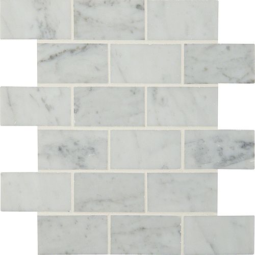 MSI Stone ULC Carrara White 12-inch x 12-inch x 10 mm Polished Marble Mesh-Mounted Mosaic Tile (10 sq. ft. / case)